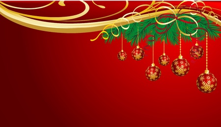 furtree: Christmas background with spheres and fur-tree branches.