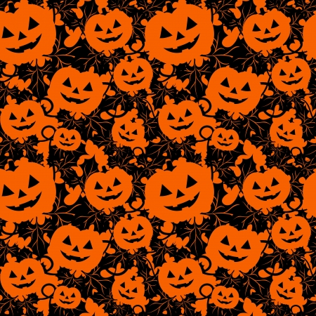 Seamless background with pumpkins in orange color Vector