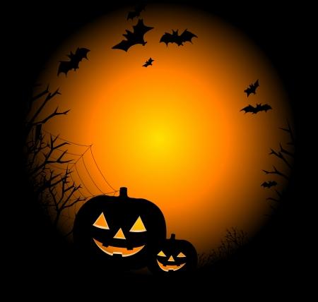 calabazas de halloween: Dibujo de d�a de Halloween con una calabaza, una web y los murci�lagos Vectores