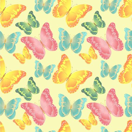 Seamless white pattern with silhouettes colorful butterflies (vector) Vector