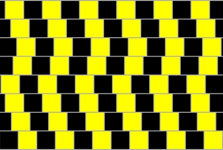 misleading: Abstract background from black and yellow squares, optical illusion.