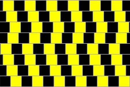 perceive: Estratto da sfondo quadrati neri e gialli, illusione ottica.