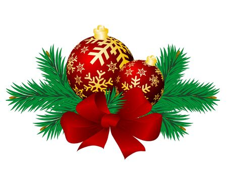 winter season: Christmas background with spheres and fur-tree branches.