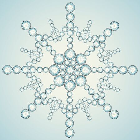Snowflake made from diamonds. the vector illustration