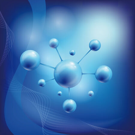 atomic structure: atom symbol with a globe in the middle Stock Photo