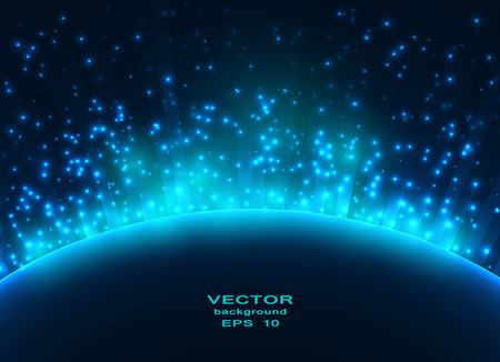 Space planet in the rays of light. Vector background. Vector