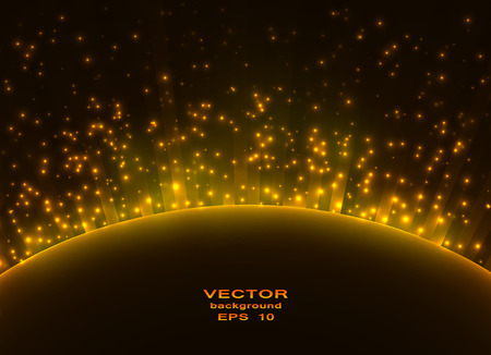 rays light: Space planet in the rays of light. Vector background. Illustration