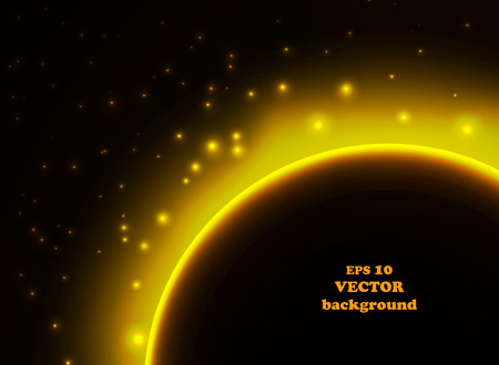 Space planet in the rays of light. Vector background. Ilustração
