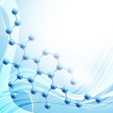 quimica organica: ilustración molécula más de fondo azul con copyspace para el texto