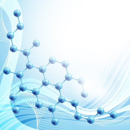 molecule illustration over blue background with copyspace for your text Ilustração