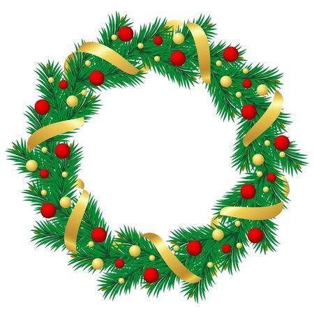 christmas tree illustration: Christmas wreath with baubles and christmas tree. Vector illustration. Illustration