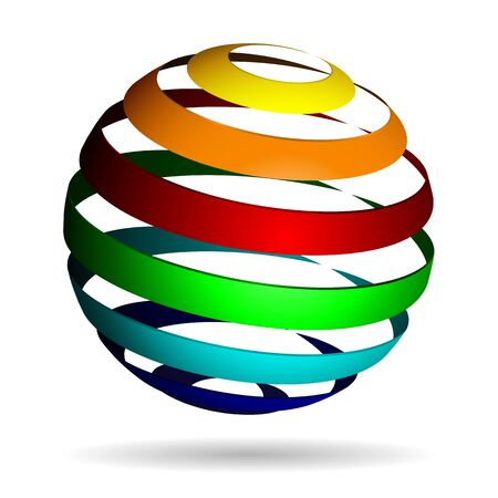 3d ball: Colorful glossy spheres isolated. Vector illustration for your design..