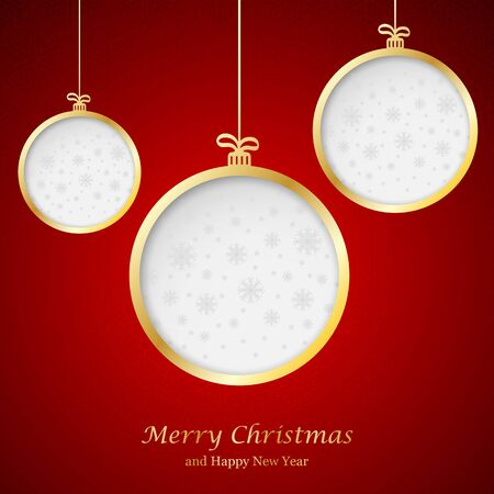 gold stars: Abstract Christmas ball cutted from paper on  background. Vector   illustration