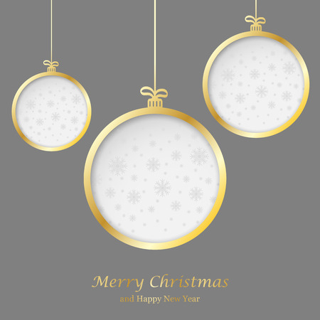Abstract Christmas ball cutted from paper on  background. Vector   illustration