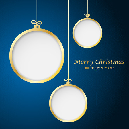 moños navideños: Bola de Navidad abstracta cutted de papel en el fondo. Ilustración vectorial