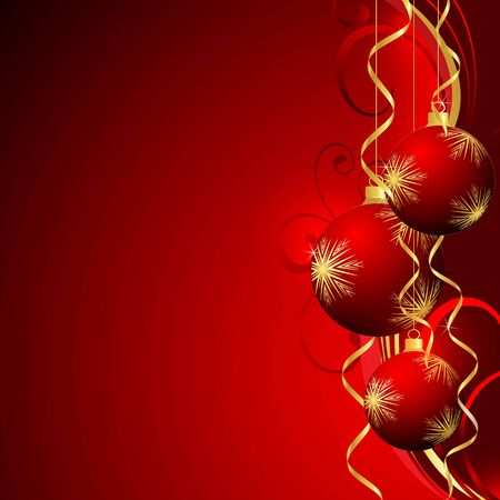 red christmas background: Abstract Christmas ball cutted from paper on  background. Vector   illustration