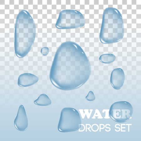 flowed: Water drops. Vector objects. Rain drops on background. Transparent drops of water flowed over the surface. Illustration