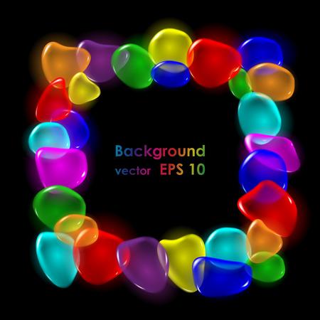 red and black: Transparent color drops on black background. Vector. Illustration