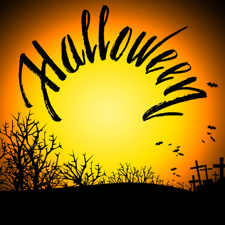 greeting card background: Halloween Bloody Text Background. Halloween pumpkin background Illustration