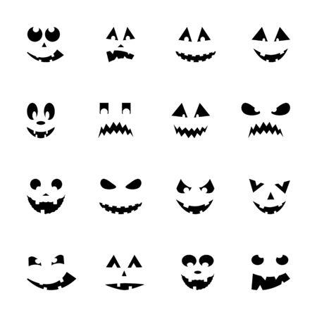 smilling: Set of 16 halloween pumpkins, illustration Illustration