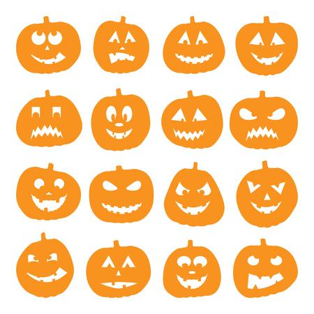 Set of 16 halloween pumpkins, illustration Иллюстрация