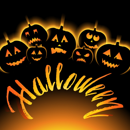 easy to edit vector illustration of Halloween Background with Pumpkin