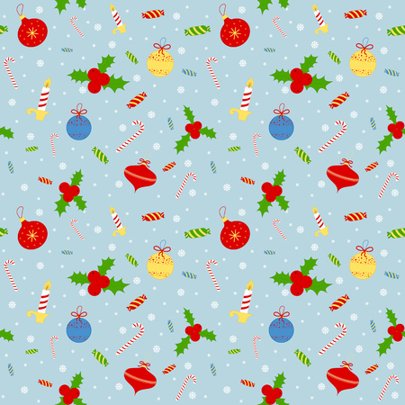 Seamless background pattern. Christmas mittens, candy cane, holly berries Illustration