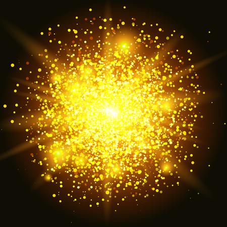 efecto de fondo de partículas de brillo. Textura chispeante El polvo de estrella chispea en la explosión en fondo negro. Ilustración Ilustración de vector