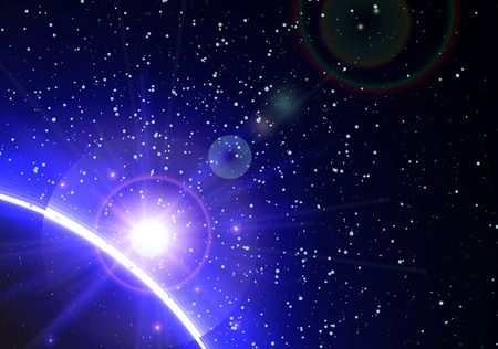 sparkle background: Space background with blue light from behind of the planet Illustration