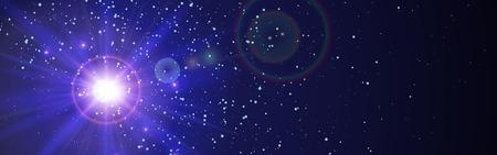 青の惑星の後ろから光と空間の背景