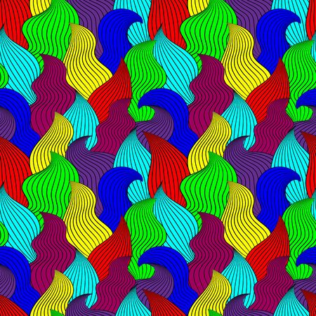 Color seamless abstract hand-drawn pattern, waves background. Vector illustration.Eps 10.