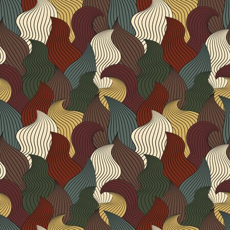 water stream: Color seamless abstract hand-drawn pattern, waves background. Vector illustration.