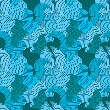 clots: Color seamless abstract hand-drawn pattern, waves background. Vector illustration.
