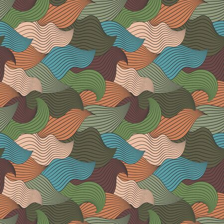 intoxicating: Color seamless abstract hand-drawn pattern, waves background. Vector illustration.Eps 10.