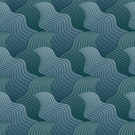 intoxicating: Color seamless abstract hand-drawn pattern, waves background. Vector illustration