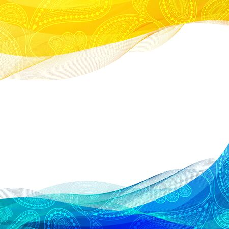 Abstract background, blue and yellow transparent waved line brochures, website, flyer design.    smoke wave. Illustration