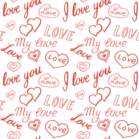 Seamless pattern of hearts and handwriting. valentines day Illustration