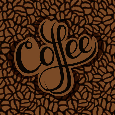 Brown textured background with coffee beans.