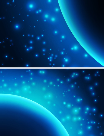 cosmology: Space background with blue light from behind Stock Photo