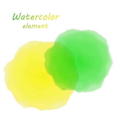 slur: orange watercolor blotch. Set of orange watercolor circles. Illustration