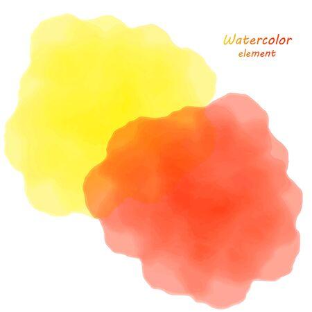 orange watercolor blotch. Set of orange watercolor circles. Illustration