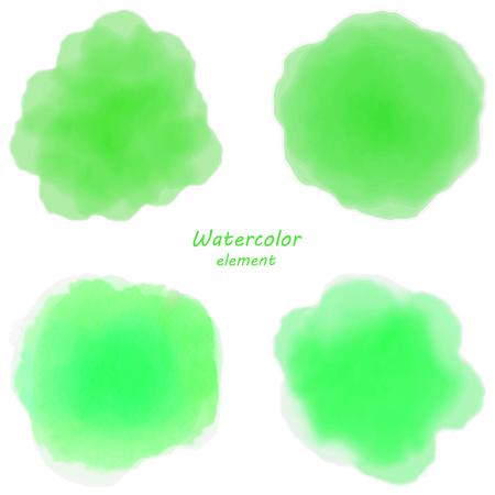 slur: green watercolor blotch. Set of green watercolor circles. Illustration