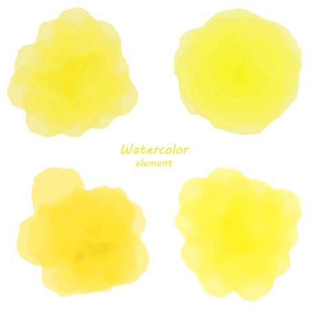 yellow watercolor blotch. Set of yellow watercolor circles. Illustration