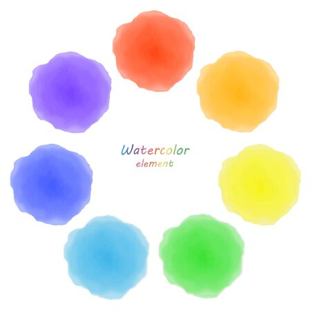 rainbow watercolor blotch. Set of rainbow watercolor circles.
