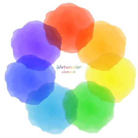 blotch: rainbow watercolor blotch. Set of rainbow watercolor circles.
