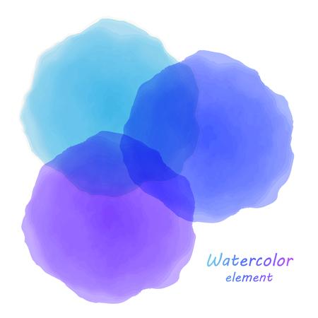 Blue watercolor blotch. Set of blue watercolor circles. Illustration