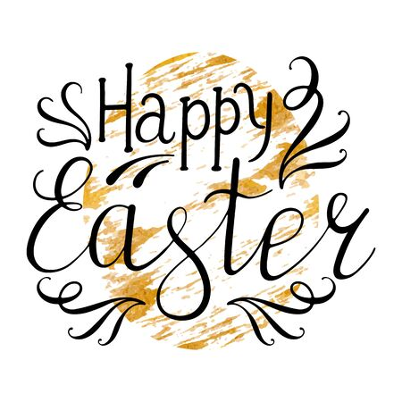 gold egg: Happy Easter Lettering Egg. Vector illustration