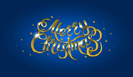 christmas postcard: Golden text on blue background. Merry Christmas and Happy New Year lettering.