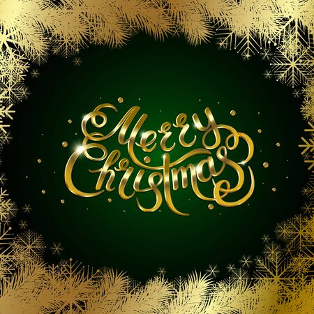 christmas postcard: Golden text on green background. Merry Christmas and Happy New Year lettering.
