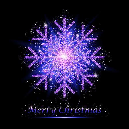 Golden glitter gorgeous snowflake. Luxurious christmas design element with golden glitter snowflake, golden dust and sparkles. Golden snowflake vector illustration.